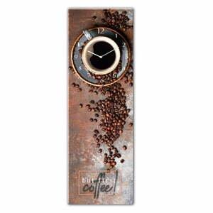 Skleněné nástěnné hodiny Styler First Coffee, 20 x 60 cm