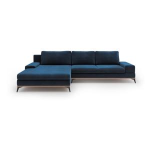Královsky modrá rozkládací rohová pohovka se sametovým potahem Windsor & Co Sofas Astre, levýroh