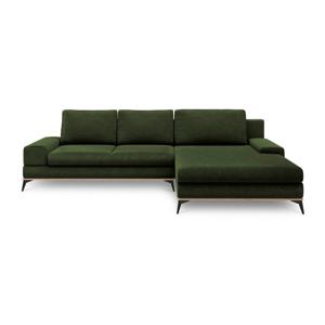 Lahvově zelená rozkládací rohová pohovka Windsor & Co Sofas Planet, pravýroh