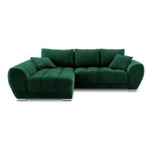 Lahvově zelená rozkládací rohová pohovka se sametovým potahem Windsor & Co Sofas Nuage, levýroh