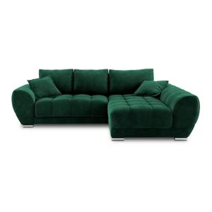 Lahvově zelená rozkládací rohová pohovka se sametovým potahem Windsor & Co Sofas Nuage, pravýroh