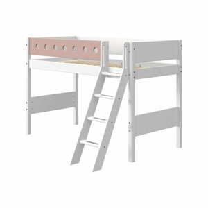 Růžovo-bílá dětská postel s žebříkem Flexa White, výška 143 cm
