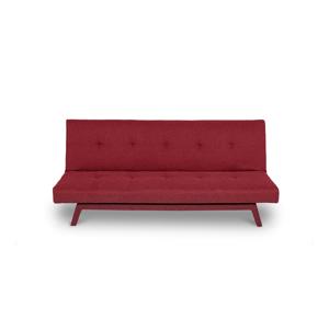 Tmavě červená rozkládací pohovka s tmavě červenými nohami loomi.design Ozzie