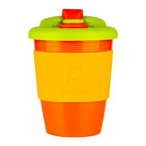 Oranžovo-žlutý cestovní hrnek na kávu Drink Pod Kofein, 340 ml