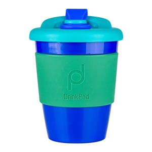 Modro-zelený cestovní hrnek na kávu Drink Pod Kofein, 340 ml