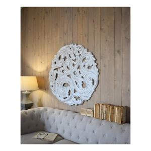 Bílá nástěnná dekorace z mangového dřeva Orchidea Milano Rosone Antique, ø100cm