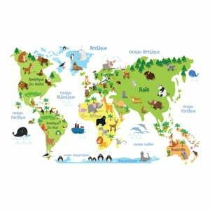 Nástěnná samolepka Ambiance Childrens World Map