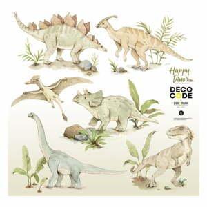 Sada dětských nástěnných samolepek s dinosauřími motivy Dekornik Happy Dino, 100 x 100 cm