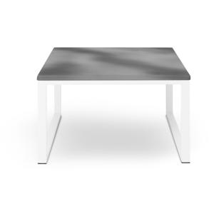Šedý venkovní stůl v betonovém dekoru a bílém rámu Calme Jardin Nicea, délka 70 cm