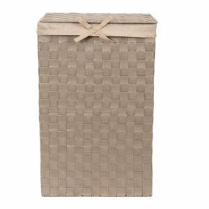 Hnědý koš na prádlo s víkem Compactor Laundry Basket Linen, výška 60 cm