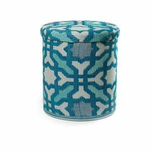 Tyrkysový venkovní puf s úložným prostorem Fab Hab Seville Multicolor Blue