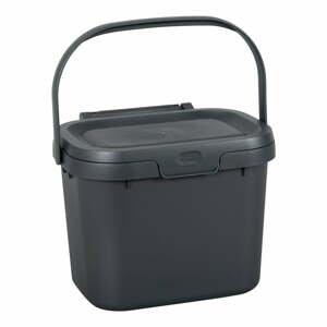 Tmavě šedý víceúčelový plastový kuchyňský kbelík s víkem Addis, 24,5 x 18,5 x 19 cm