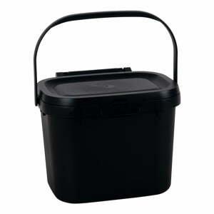 Černý víceúčelový plastový kuchyňský kbelík s víkem Addis, 24,5 x 18,5 x 19 cm