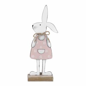 Bílá dekorace na podstavci králík v růžových šatech Ego Dekor, 25,5 x 9 x 4 cm