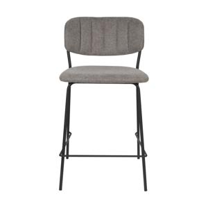 Sada 2 šedých barových židlí s černými nohami White Label Jolien, výška 89 cm