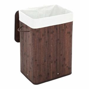Tmavě hnědý bambusový koš na prádlo s bavlněnou výstelkou Songmics