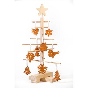 Set dřevěného vánočního stromku a 14 terakotových ozdob Nature Home Xmas Set