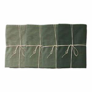 Sada 4 látkových ubrousků s příměsí lnu Linen Couture Green, 43 x 43 cm