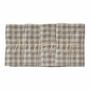 Sada 4 látkových ubrousků s příměsí lnu Linen Couture Grey Vichy, 43 x 43 cm