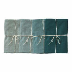 Sada 4 látkových ubrousků s příměsí lnu Linen Couture Turquoise, 43 x 43 cm