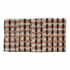 Sada 4 látkových ubrousků s příměsí lnu Linen Couture Garland Geometric, 43 x 43 cm