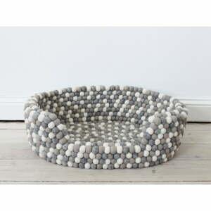 Světle šedo-bílý kuličkový vlněný pelíšek pro domácí zvířata Wooldot Ball Pet Basket, 40 x 30 cm