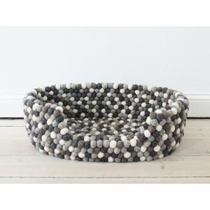 Šedo-bílý kuličkový vlněný pelíšek pro domácí zvířata Wooldot Ball Pet Basket, 40 x 30 cm
