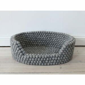 Ocelově šedý kuličkový vlněný pelíšek pro domácí zvířata Wooldot Ball Pet Basket, 40 x 30 cm