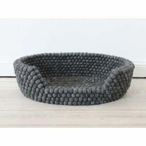 Antracitový kuličkový vlněný pelíšek pro domácí zvířata Wooldot Ball Pet Basket, 40 x 30 cm