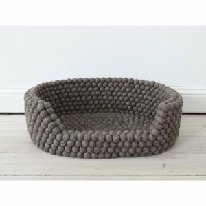 Ořechově hnědý kuličkový vlněný pelíšek pro domácí zvířata Wooldot Ball Pet Basket, 60 x 40 cm