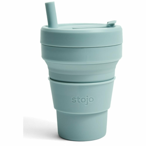 Modrý skládací hrnek Stojo Biggie Aquamarine, 470 ml