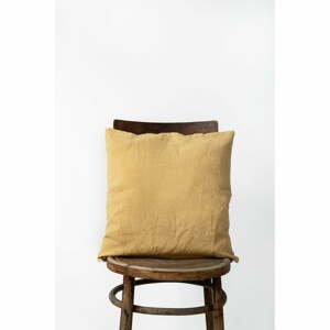 Medově žlutý lněný povlak na polštář Linen Tales, 45 x 45 cm