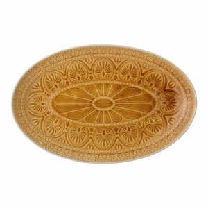 Oranžovožlutý servírovací talíř z kameniny Bloomingville Rani,39x25cm