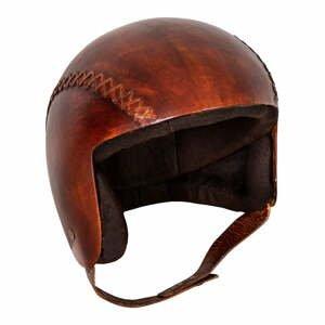 Kožená dekorace ve tvaru helmy Antic Line Casque,20x23cm