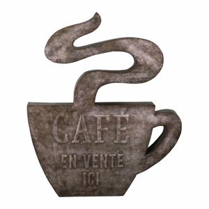 Nástěnný kovový dekorativní prvek Antic Line Cafe,49x58,5cm