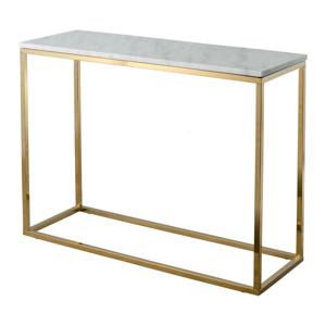 Bílý mramorový konzolový stolek s podnožím ve zlaté barvě RGE Marble, délka 100 cm