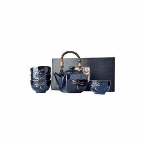 Tmavě modrý čajový set MIJ Dragonfly