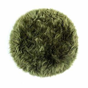 Tmavě zelený podsedák z ovčí kožešiny na jídelní židli Royal Dream Zealand Round, ⌀ 35cm