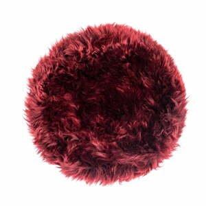 Červený podsedák z ovčí kožešiny na jídelní židli Royal Dream Zealand Round, ⌀ 35cm