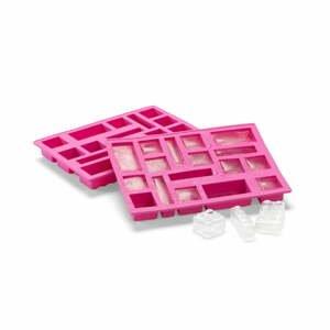 Růžová silikonová forma na led ve tvaru dílků LEGO®