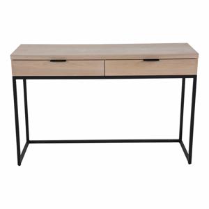 Konzolový stolek s 2 šuplíky z jasanového dřeva a kovovou konstrukcí Canett Cara, délka 120 cm