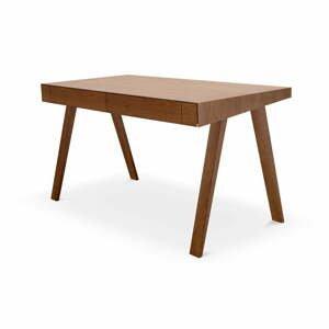 Hnědý psací stůl s nohami z jasanového dřeva EMKO,140x70cm