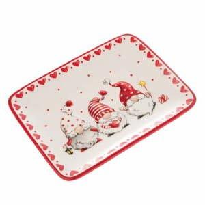 Červeno-bílý keramický servírovací talíř s motivem trpaslíků Dakls