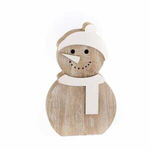 Dřevěná dekorace ve tvaru sněhuláka Dakls, výška 14,2 cm