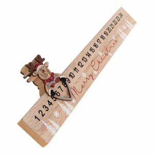 Dřevěný podlouhlý adventní kalendář Sob Dakls, délka 40 cm