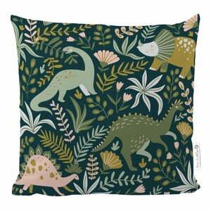 Tmavě zelený povlak na polštář z bavlněného saténu Mr. Little Fox Friendly Dinosaurus, 50x50cm