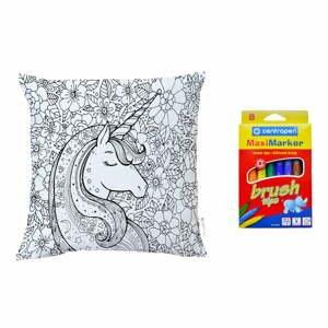 Set povlaku na polštář z bavlněného saténu a fixů na textil Mr. Little Fox Fox Flower Unicorn, 50x50cm