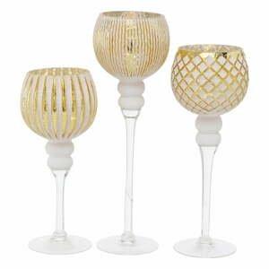 Sada 3 svícnů ve zlato-bílé barvě Boltze Manou