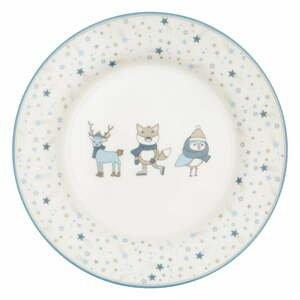 Bílo-modrý talíř z kameniny Green Gate Kids