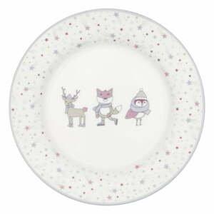 Bílo-růžový talíř z kameniny Green Gate Kids
